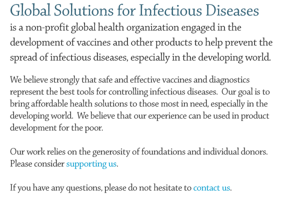 Global Solutions for Infectious Diseases